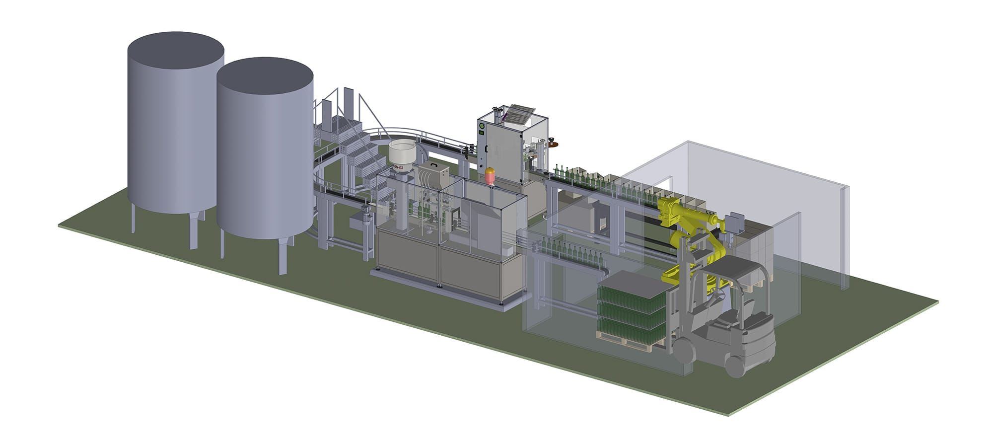 Complete lines for wine bottling and packaging